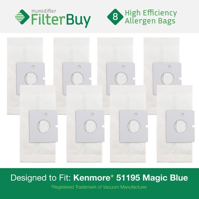 8 Kenmore 51195 Magic Blue Canister Micro Allergen Vacuum Bags. Replaces Part # 20-51195 (2051195) and Kenmore M Bags.