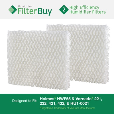 HWF55 Holmes & Vornado 221, 232, 421, 432, HU1-0021 Humidifier Wick Filter Replacement - Pack of 2