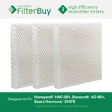3 Honeywell HAC-801, Duracraft AC-801, Sears Kenmore 01478 Humidifier Wick Replacement Filters.